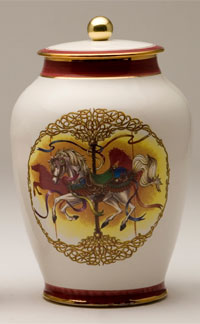 Pottery cremation urns - carousel pony design