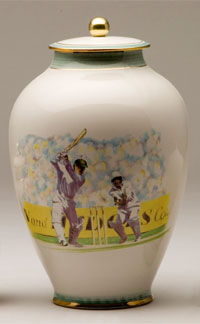 Pottery cremation urns - cricket design