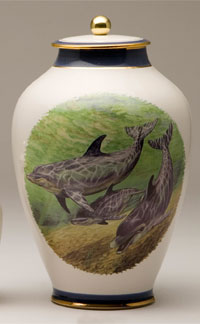 Pottery cremation urns - dolphin design