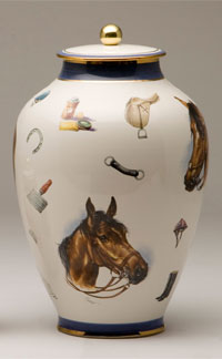 Pottery cremation urns - equestrian design