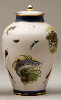 Pottery cremation urns - fishing design