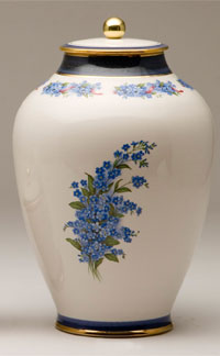Pottery cremation urns - forget me not design