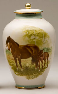 Pottery cremation urns - mare and foal design