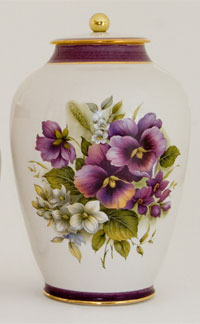 Pottery cremation urns - pansy design