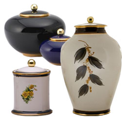 Pottery cremation urns in different sizes and designs