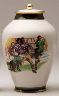 Pottery cremation urns - rugby design