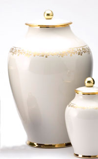 Pottery cremation urns - solid color design