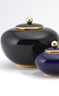 Pottery cremation urns - solid sphere design