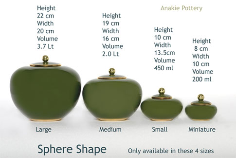 Pottery cremation urns - sphere sizes in height and volume