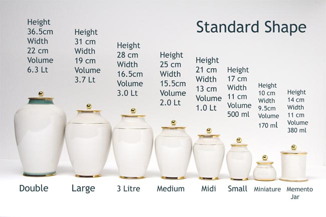 Sizes of pottery urns from William Matthews Funerals
