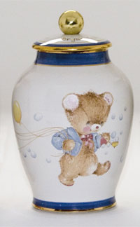 Pottery cremation urns - teddy design