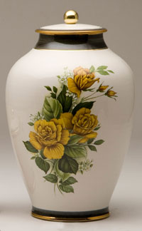 Pottery cremation urns - yellow rose design