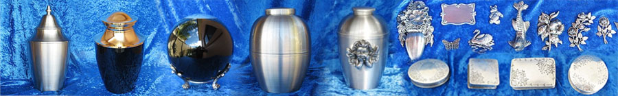 Sample of pewter keepsake cremation urns organised by William Matthews Funerals in lilydale victoria.