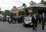 Bill Matthews leads last ride funeral bike hearse