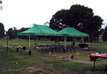Temporary tent for outdoor burial services