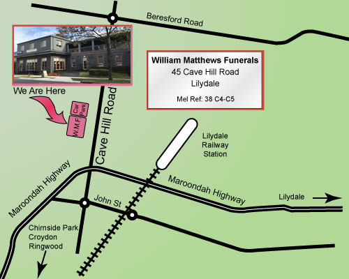 Map to William Matthews Funerals