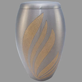 Brass cremation urns - flair brushed pewter 10inch EP889 design