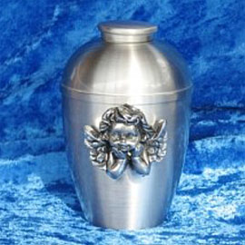 Pewter cremation urns - small rounded urn with pewter cherub shaped ornament on the front