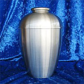 Pewter cremation urns - large rounded pewter urn.