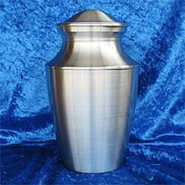 Pewter cremation urns - large rounded pewter urn with a decorative shaped neck and lid.