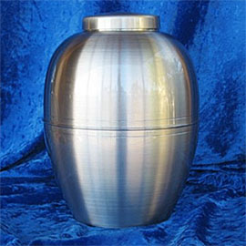 Pewter cremation urns - pewter rounded urn with decorative line around the middle.
